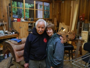 Tlingit woodcarver Nathan P. Jackson and his wife at the workshop in Saxman